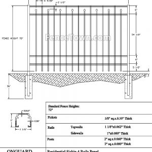 Onguard Siskin Aluminum Fence 72H