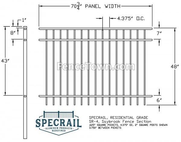 Specrail Saybrook 48H Residential Fence Specs