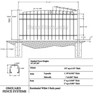Onguard Willet Aluminum Fence Panel Specs