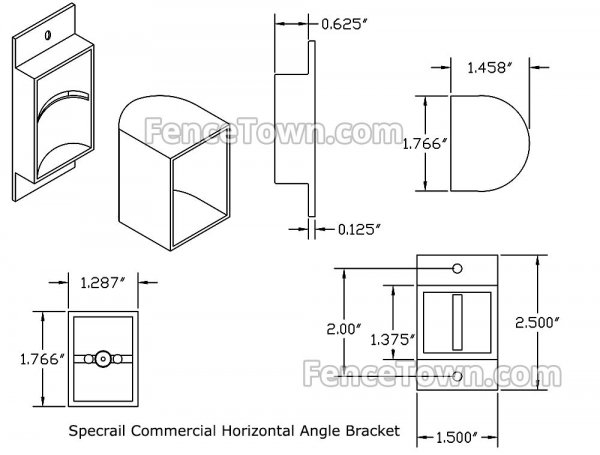 Specrail Commercial Horizontal Angle Bracket Specifications