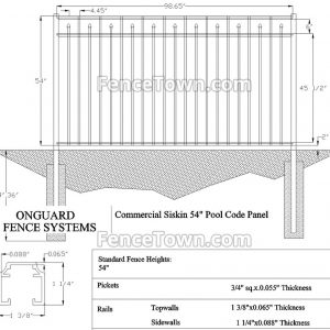 Onguard Siskin Commercial Fence 54H Specs