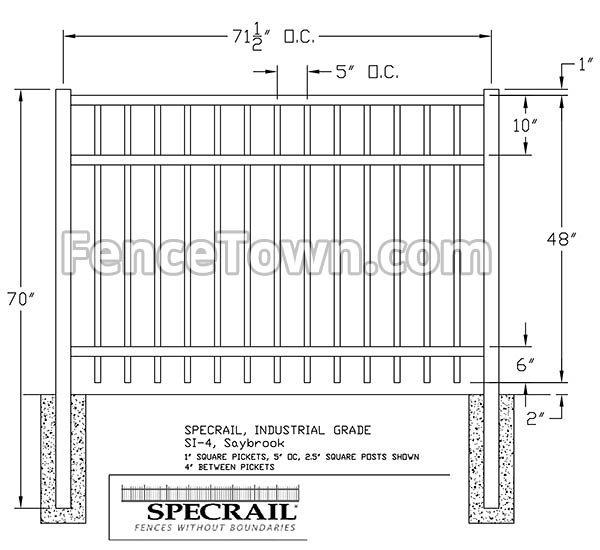 Specrail Saybrook Fence 48H x 72W