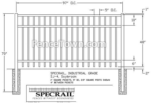 Specrail Saybrook Fence 48H x 96W