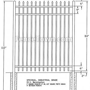 Specrail Bennington industrial grade fence panel 84H