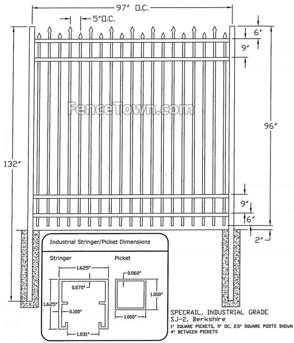 Specrail Berkshire Industrial Aluminum Fence