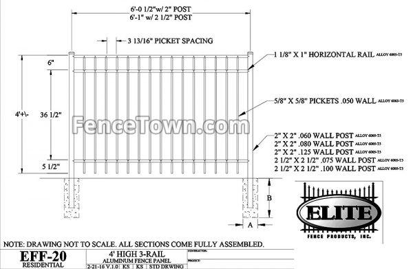 Elite EFF-20 Aluminum Fence Panel Specs