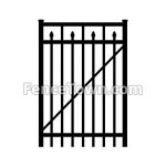 Flat Top Aluminum Gate with Spear Pickets 36W | FenceTown