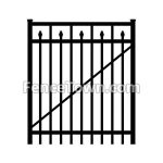 Flat Top Aluminum Gate with Spear Pickets 48W | FenceTown