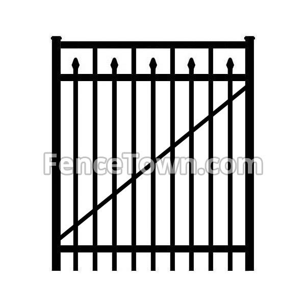 Flat Top Aluminum Gate with Spear Pickets
