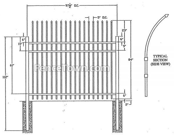 Specturion Industrial Aluminum Fence Specs
