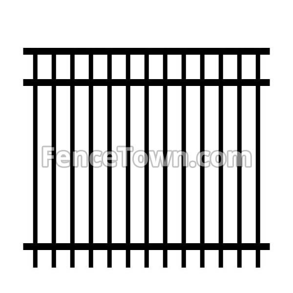 Flat Top Rail Industrial Aluminum Fence